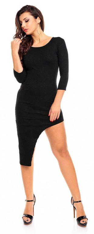 Černé asymetrické šaty s tričtvrtečním rukávem