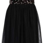 Černé plesové šaty bez ramínek s tylovou sukní a flitry