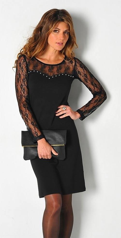 Černé šaty s dlouhými krajkovými rukávy