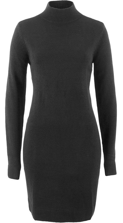 Černé zimní šaty s dlouhým rukávem