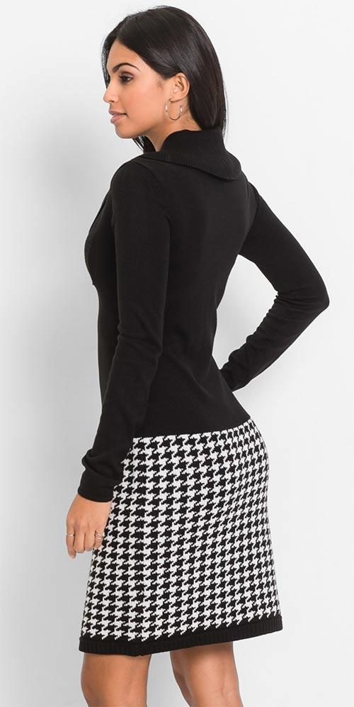 Černobílé zimní šaty