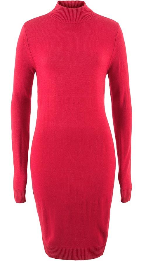Červeno-růžové zimní šaty