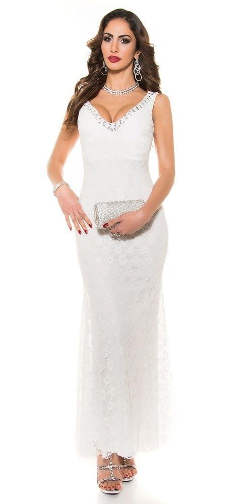 Dlouhé bílé krajkové plesové šaty