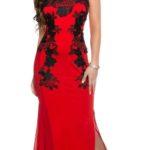 Dlouhé červené společenské šaty s černou krajkou