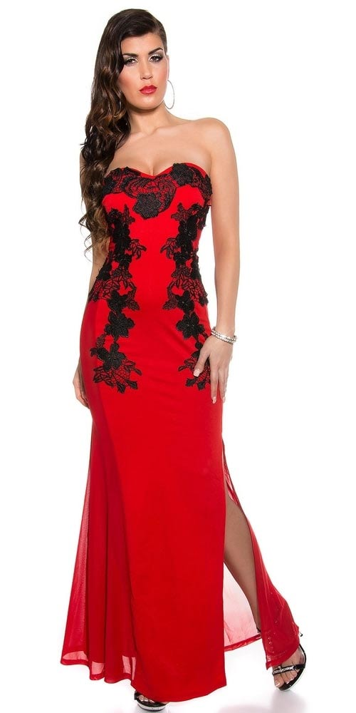 6d310f65677c Dlouhé červené společenské šaty s černou krajkou