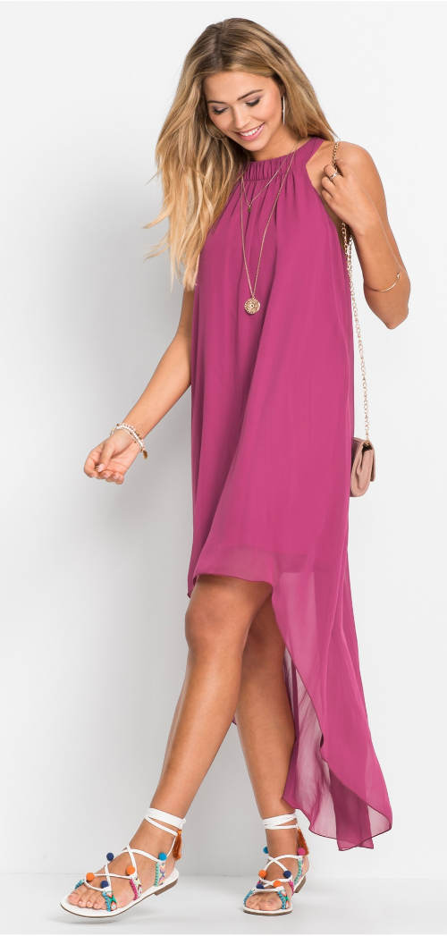Dlouhé fialové lehounkoé šaty