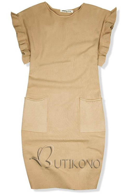Hnědé pletené podzimní oversized šaty