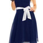 Modré korzetové šaty s mašlí a šifonovou sukní