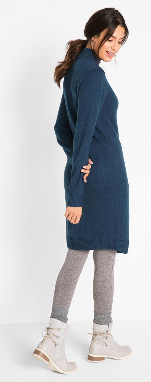 Modré zimní šaty k legínám