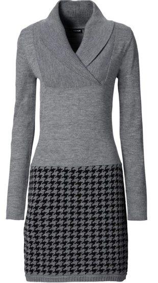 Pletené šaty s karovanou sukní