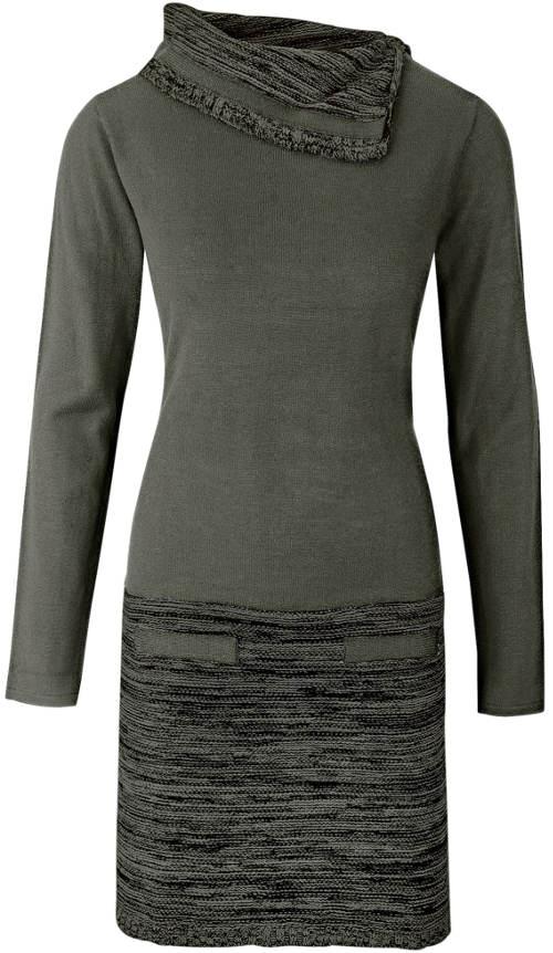 Pletené šaty olivové barvy