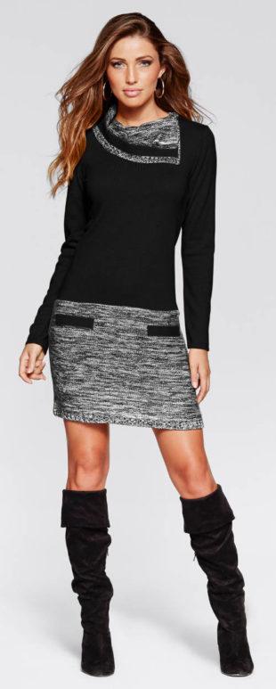 Pletené šaty s velkým límcem