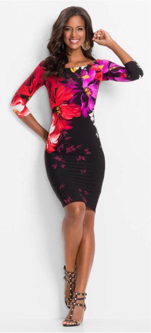 Šaty s celoplošným květinovým potiskem