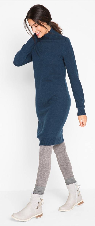 Úpletové zimní šaty se stojáčkem