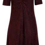 Vínové společenské šaty s krátkým rukávem
