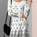 Bílé jarní šaty s potiskem a dlouhými rukávy