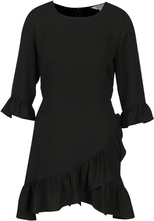 Černé asymetrické šaty s volány