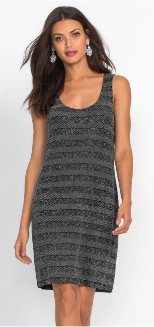 Černo-šedé leské šaty