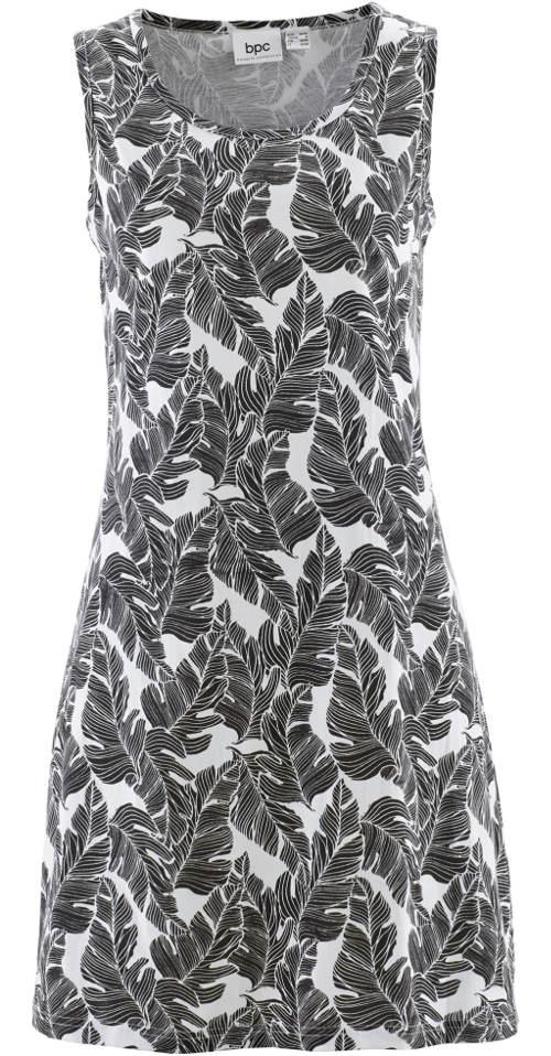 Černobílé šaty s potiskem listů