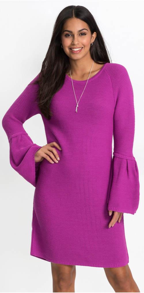 Fialové pletené šaty