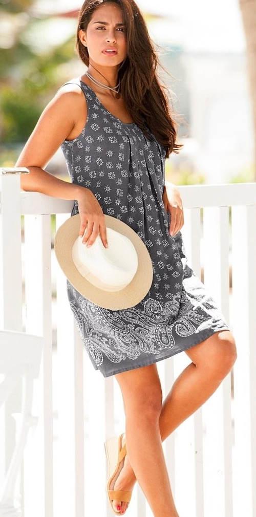 Levné šedé dámské šaty