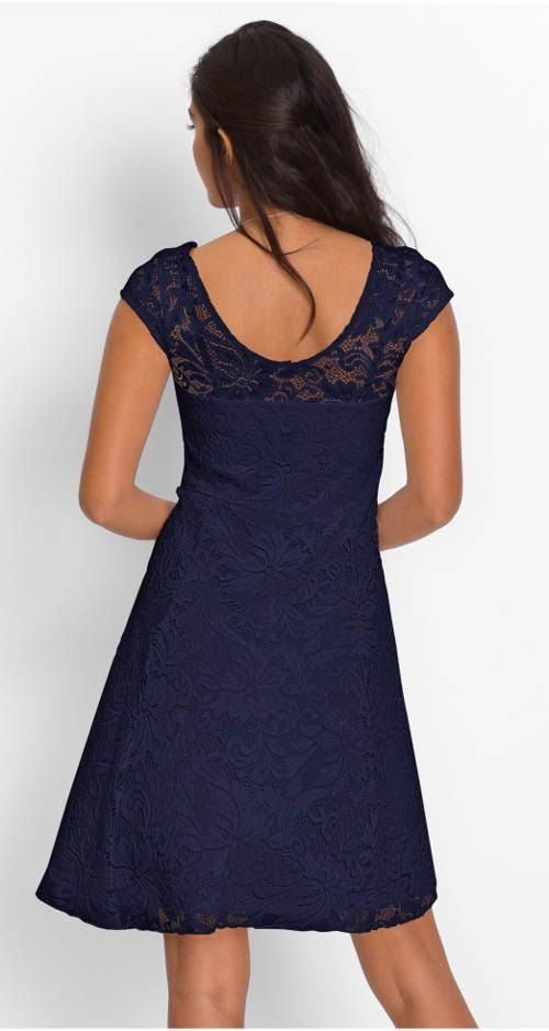 Modré krajkové plesové šaty