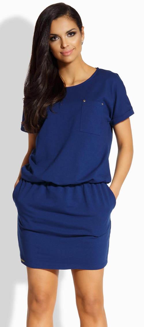Modré šaty s kapsami