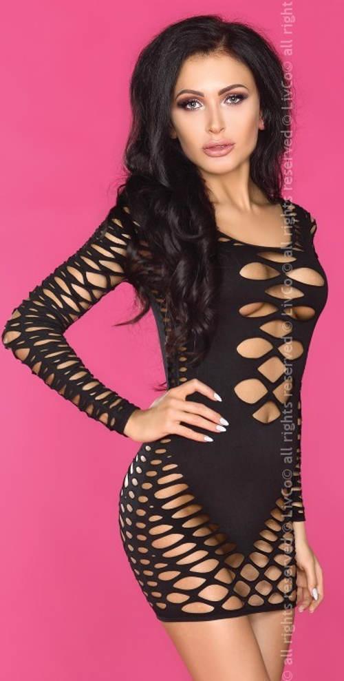 Odvážné dámské elastické mini šaty s průstřihy