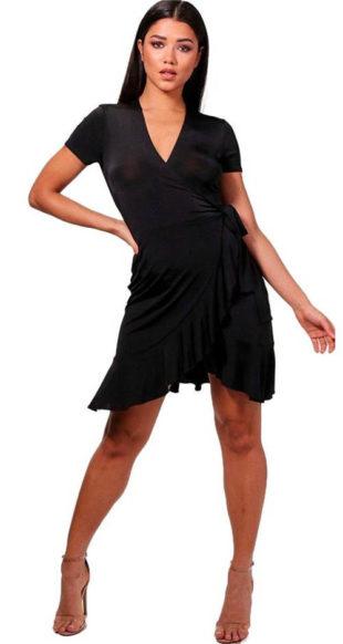 Průsvitné zavinovací malé černé šaty Mia