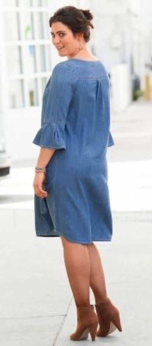 Riflové šaty s volánkovými rukávy