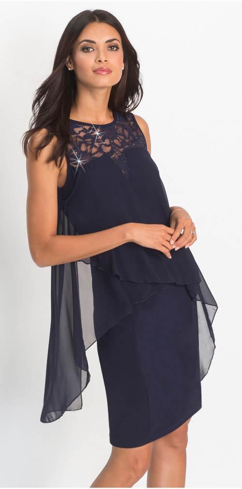 Tmavě modré krajkové šaty s pajetkami