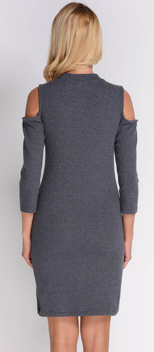 Tmavě šedé úpletové šaty