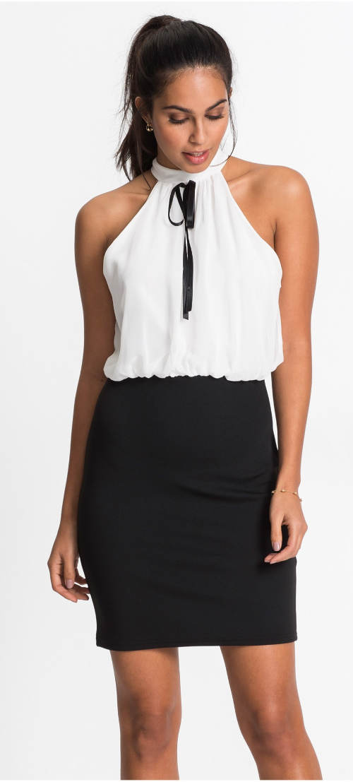 Černobílé šaty s šifónovým horním dílem