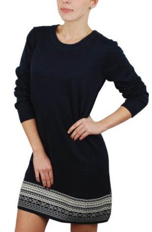 Dámské šaty s dlouhým rukávem a zimním vzorem