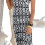 Dlouhé černobílé plážové šaty