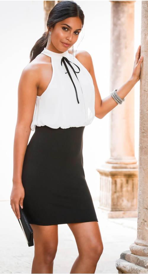 Elegantní šaty za krk