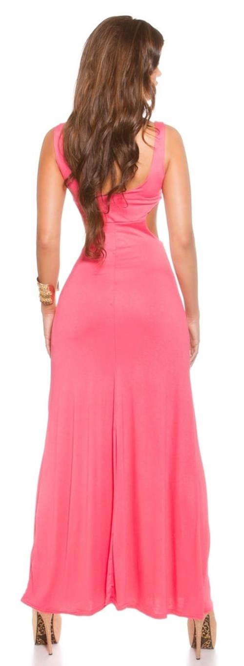 Levné dlouhé růžové šaty