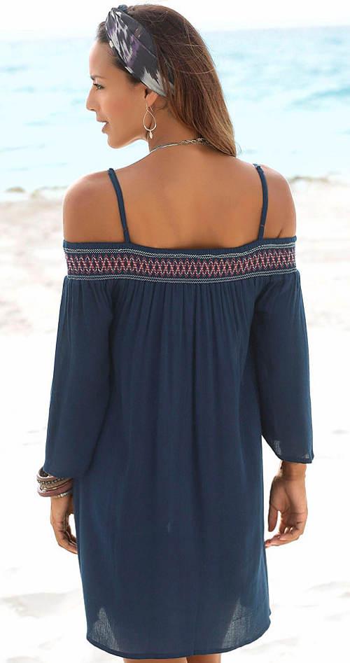 Modrá plážová tunika