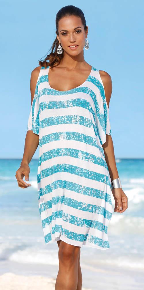 Modrobílé pruhované plážové šaty
