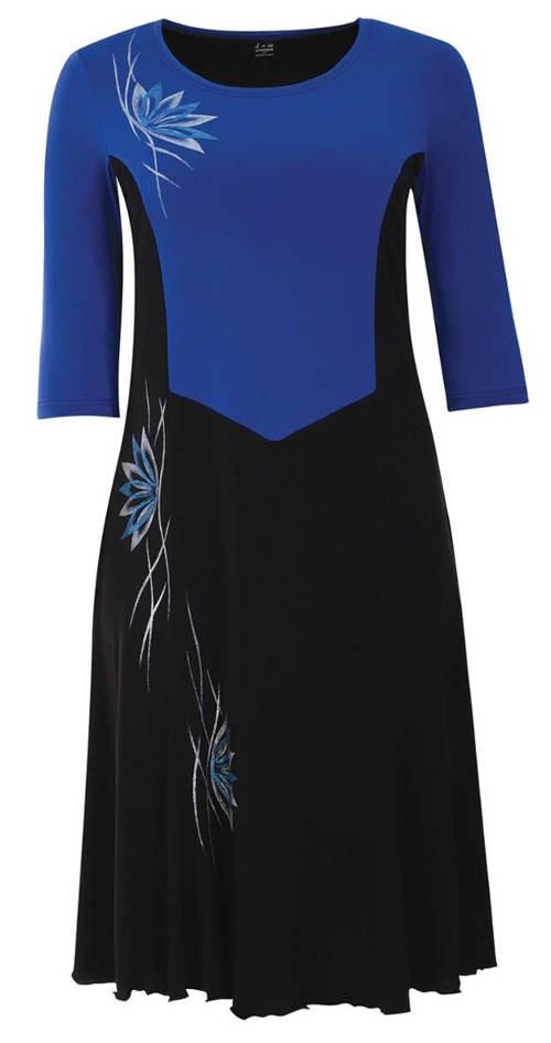 Modro-černé šaty pro plnoštíhlé