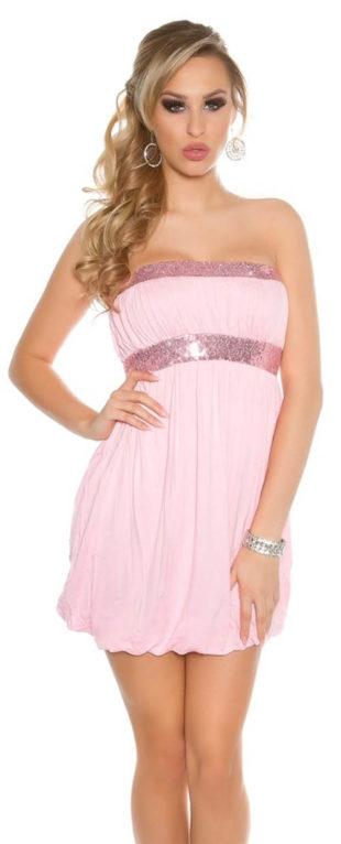 Party mini šaty bez ramínek s balonovou sukní