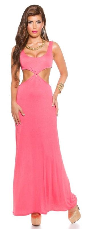 Růžové dlouhé letní šaty s průstřihy