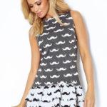 Šedé letní šaty s vrstvenou sukní