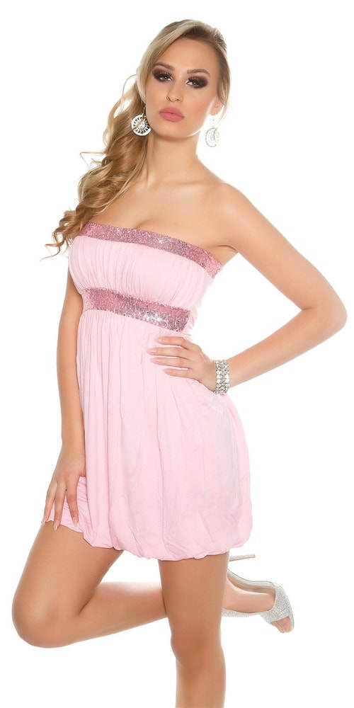Party mini šaty bez ramínek s balonovou sukní 3bff45dc08a