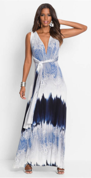 Dlouhé letní šaty s překříženými zády