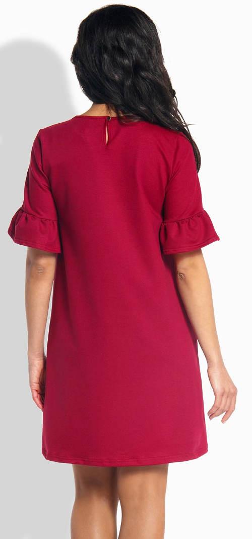 Fialové šaty s volánkovými rukávy