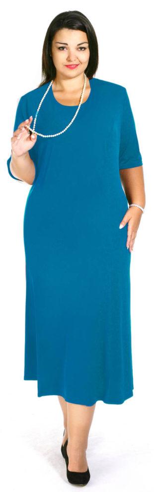 Jednobarevné společenské šaty pro plnoštíhlé