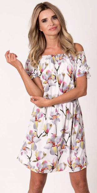 Květinové letní šaty s lodičkovým výstřihem