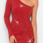 Lesklé žakárové šaty s jedním ramenem