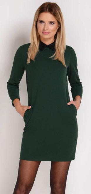 Levné zelené tulípanové šaty s kontrastním límečkem